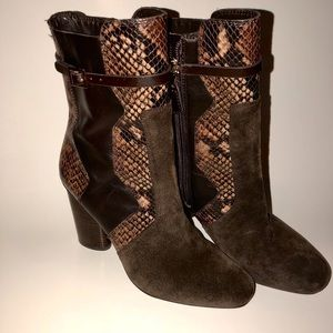 Tory Burch Renault Python Embossed Ankle Booties